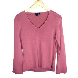 Ann Taylor Dusty Rose V neck Sweater Top